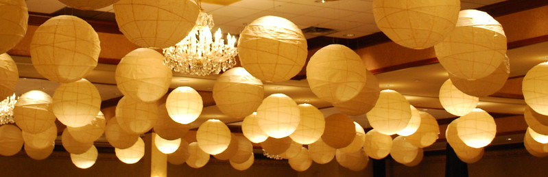 Ivory colored paper lanterns. These are HUGE & I have hundreds of them! we now offer lights for some of the lanterns!