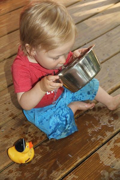 Yum! Now Elliot knows why Bessie & Tex always want water!