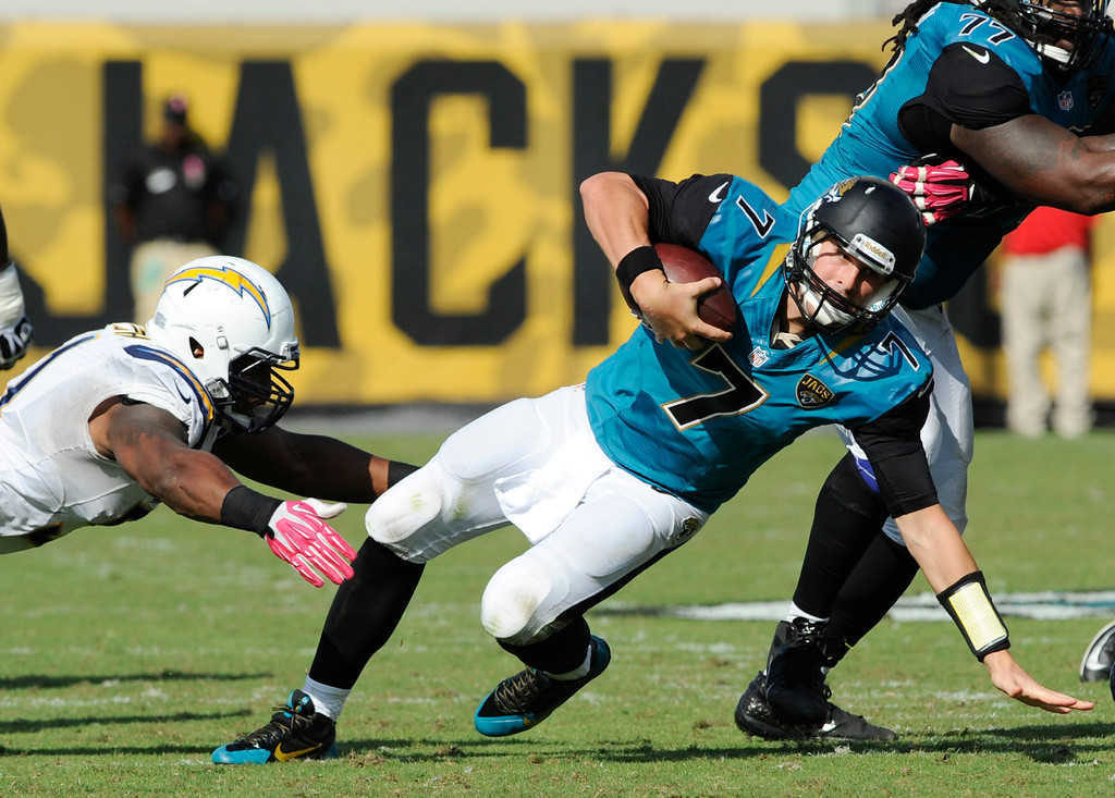. San Diego Chargers outside linebacker Larry English, left, sacks Jacksonville Jaguars quarterback Chad Henne (7) for a 1-yard loss during the second half of an NFL football game in Jacksonville, Fla., Sunday, Oct. 20, 2013. San Diego Chargers won the game 24-6.(AP Photo/Stephen Morton)
