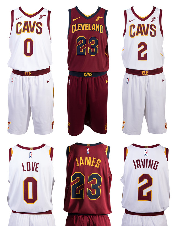 . The white Association edition uniform features CAVS across the chest in wine accented by a gold outline. The front and back player numbers are wine with a gold outline. The lettering (last name) on the back of the uniform is wine, as is the trim on the collar and shoulders of the jersey. The wine waistband on the shorts showcases the word �CLE� front and center. The wine Icon edition uniform features CLEVELAND across the chest in gold accented by a navy outline. The front and back player numbers are navy with a gold outline. The trim on the collar and shoulders of the jersey is navy, while the lettering (last name) on the back of the jersey is gold. The navy waistband on the shorts showcases the word �CAVS� front and center.  (Courtesy Cleveland Cavaliers)