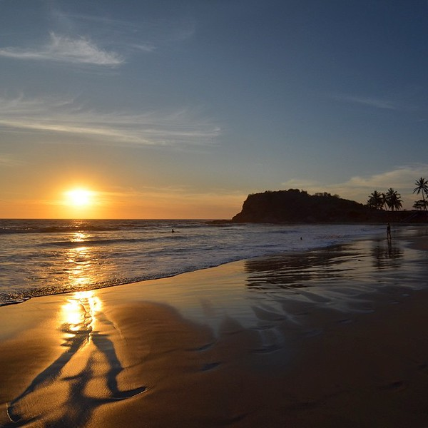 Sunset over the beach, in Mazatlan, Mexico