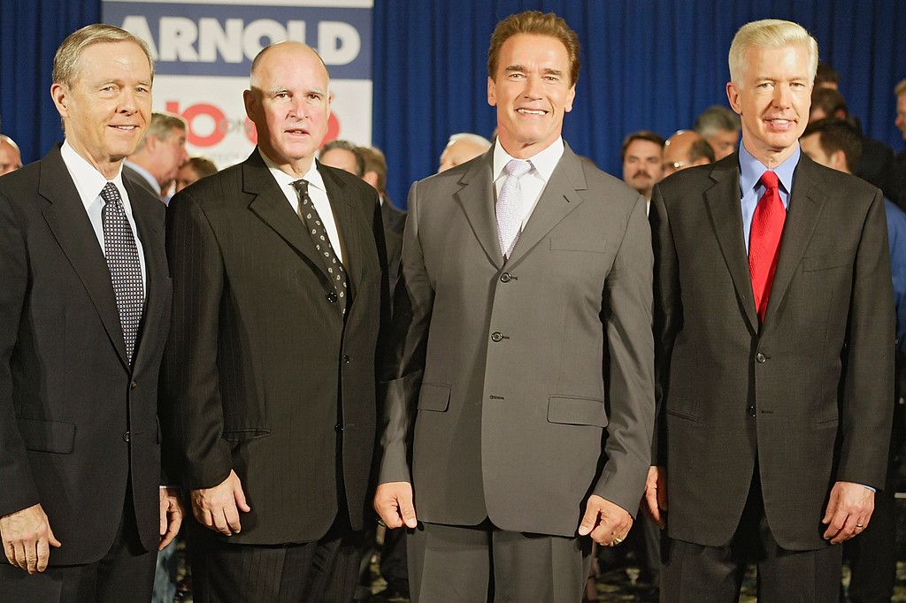 . California Gov. Arnold Schwarzenegger, third from left, is joined by former California Governors, from left,  Pete Wilson, Jerry Brown and Gray Davis, far right, to oppose Proposition 66,  the November ballot initiative which would reform California�s �Three Strikes� law,  during a news conference Thursday, Oct. 28, 2004 in Los Angeles. (AP Photo/Damian Dovarganes)