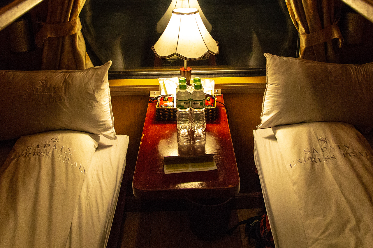 Our Cabin on the Sleeper Train from Hanoi to Sapa Vietnam
