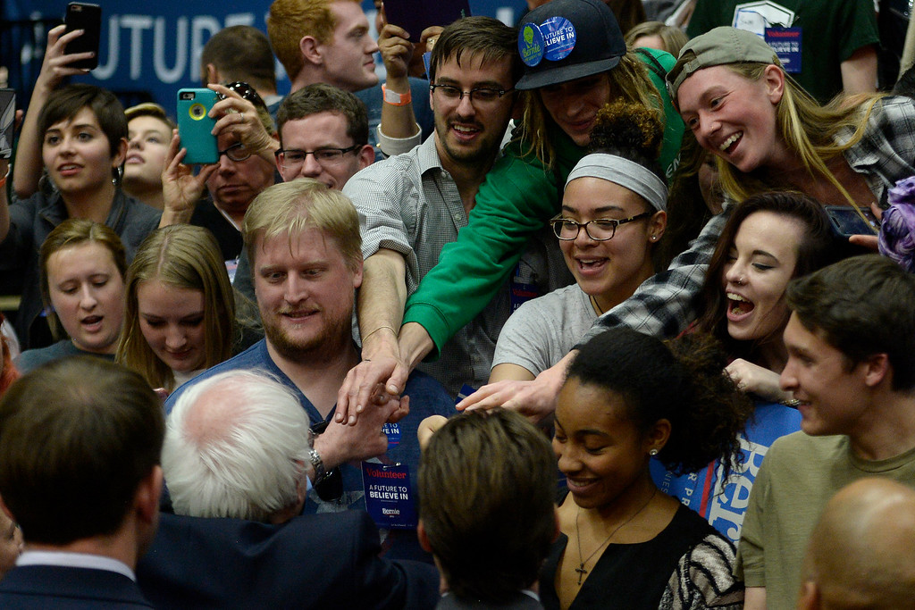 . FORT COLLINS, CO - FEBRUARY 28: Bernie Sanders shakes hands with supporters during a rally at Colorado State University\'s Moby Arena on Sunday, February 28, 2016. (Photo by AAron Ontiveroz/The Denver Post)