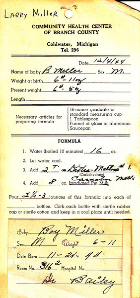 Larry's Birth Information from Community Health Center of Branch County Coldwater Michigan 1944