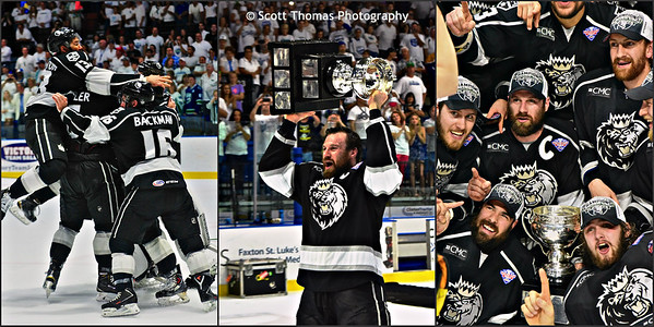 Players of the Manchester Monarchs celebrate winning the Calder Cup by defeating the Utica Comets in a Best of Seven series, 4 games to 1.