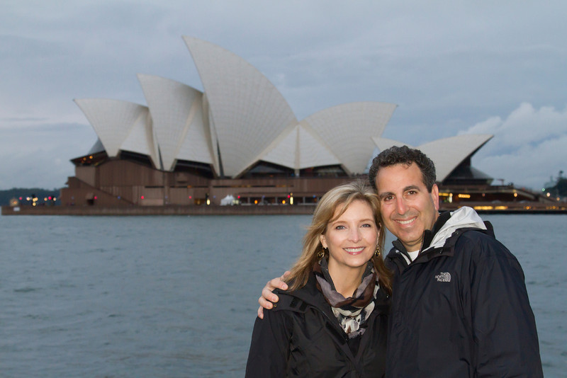 """We began our trip in Sydney, an absolutely spectacular city.  """"Here we are"""" on our first night in Sydney after a tour of the Opera House."""