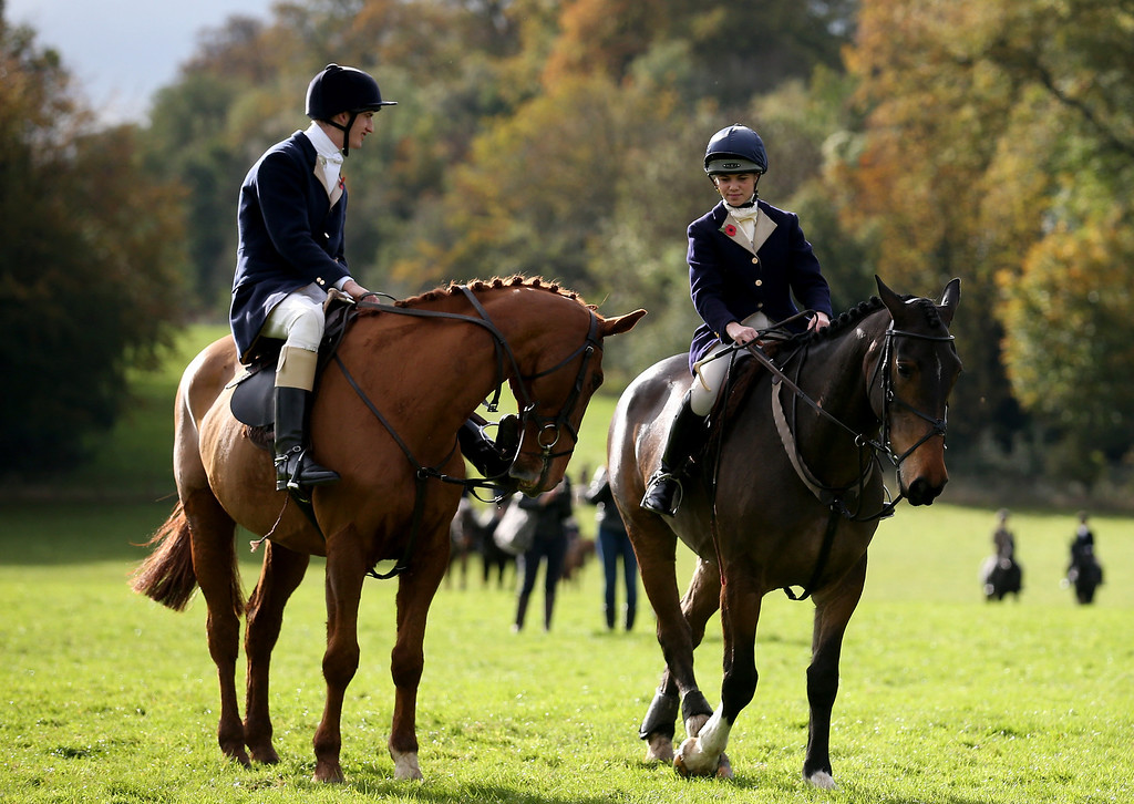 . BADMINTON, GLOUCESTERSHIRE - NOVEMBER 02:  Riders from the Duke of Beaufort\'s Hunt gather for their opening meet of the season at Worcester Lodge on November 2, 2013 near Badminton in Gloucestershire, England. Traditionally the hunting season starts at the beginning of November and although a ban on fox hunting with dogs has been in force since February 2005, many supporters of fox hunting are continuing to call for a repeal of the ban, saying the current law is hard to interpret and enforce.  (Photo by Matt Cardy/Getty Images)