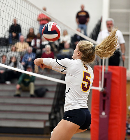 11/14/2019 Mike Orazzi | StaffrSt. Joseph High School's Katie Spangenberg (5) during the Class L Second Round Girls Volleyball Tournament against Bristol Central at BCHS. r
