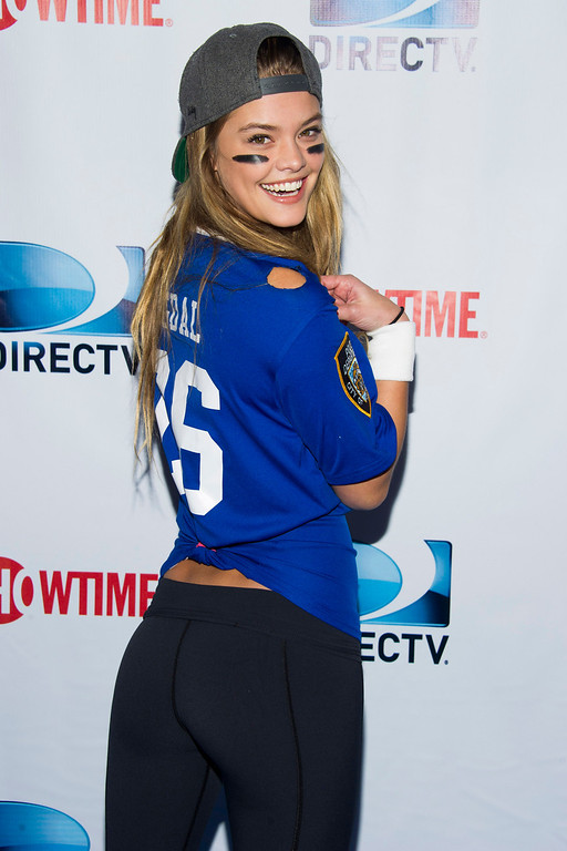 . Nina Agdal attends DIRECTV\'s 8th annual Celebrity Beach Bowl on Saturday, Feb. 1, 2014 in New York. (Photo by Charles Sykes/Invision/AP)