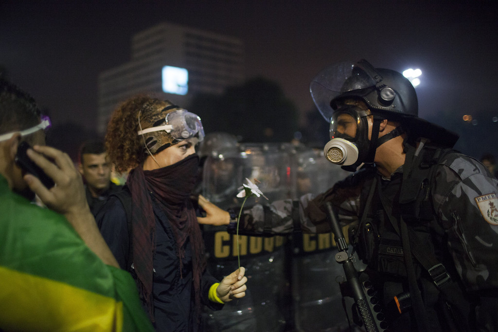 . Demonstrators clash with riot police during a protest against bus fare price hikes June 20, 2013 in Rio de Janeiro, Brazil.  (Photo by Rafael S. Fabres/Getty Images)