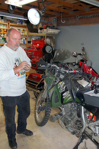 Chris working on his heated grips.