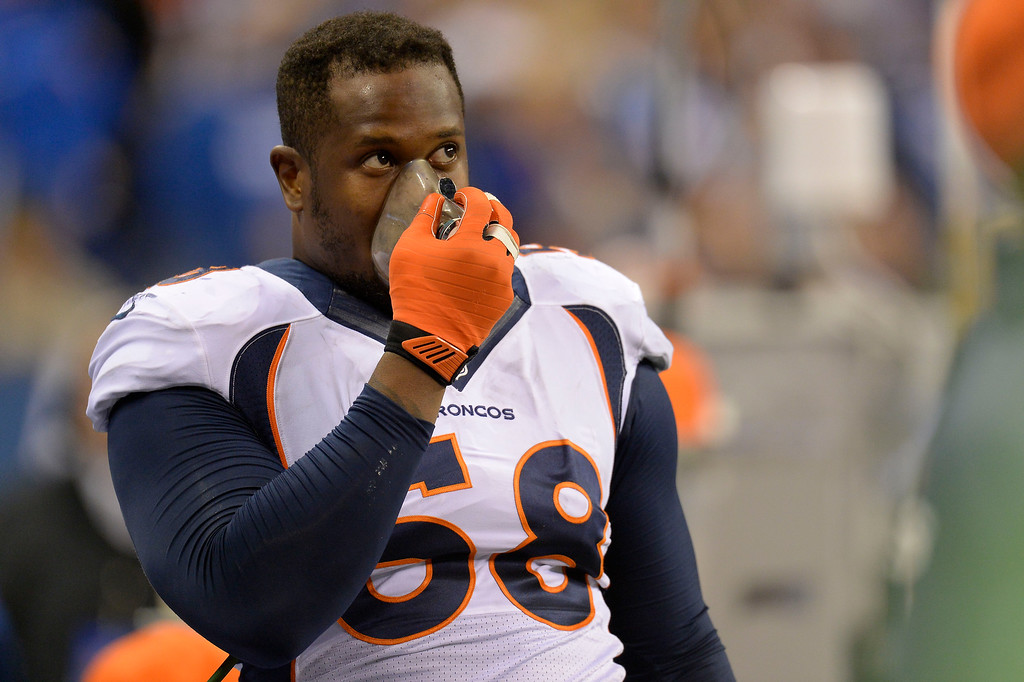 . Denver Broncos outside linebacker Von Miller (58) gets some oxygen during the third quarter agains the Indianapolis Colts October 20, 2013 at Lucas Oil Field. Photo by John Leyba/The Denver Post)