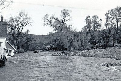 Looking south from the Jackson Street bridge.  May 1965 flood - Spearfish, SD.