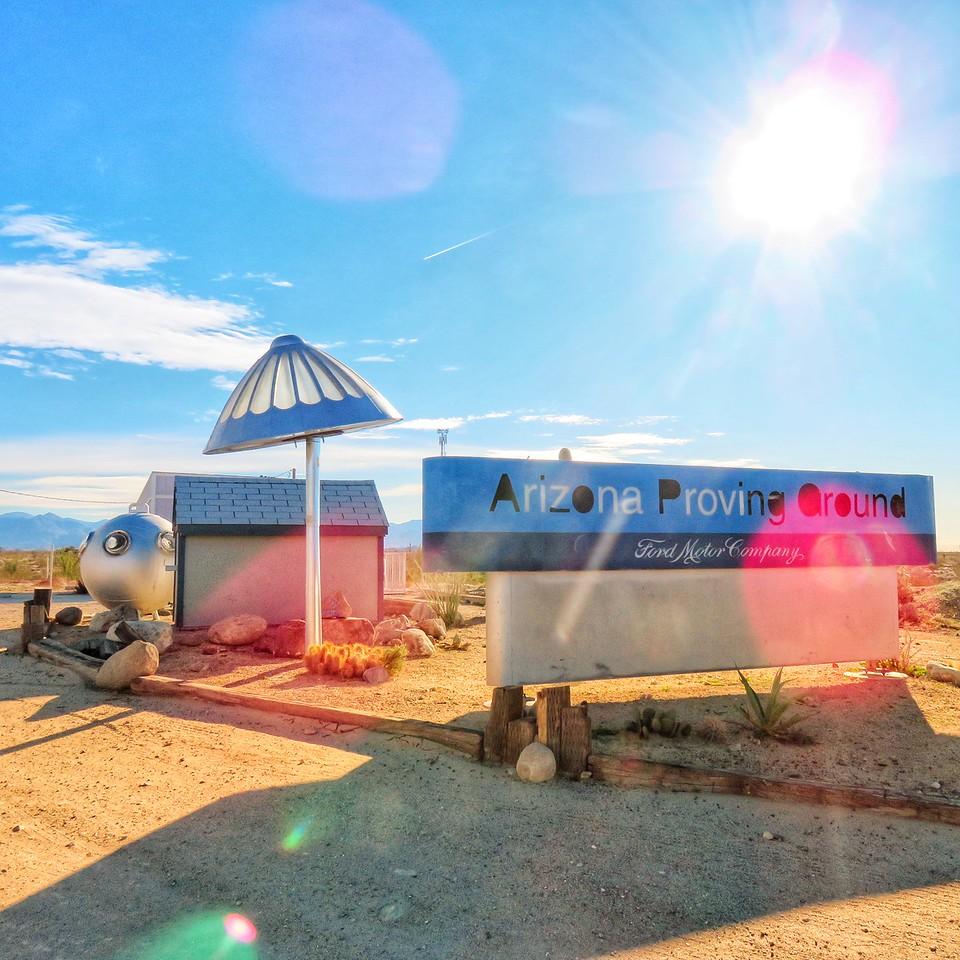 Area 66 Roadside Tourist Attraction - Yucca, Arizona - Ford Arizona Proving Ground Sign