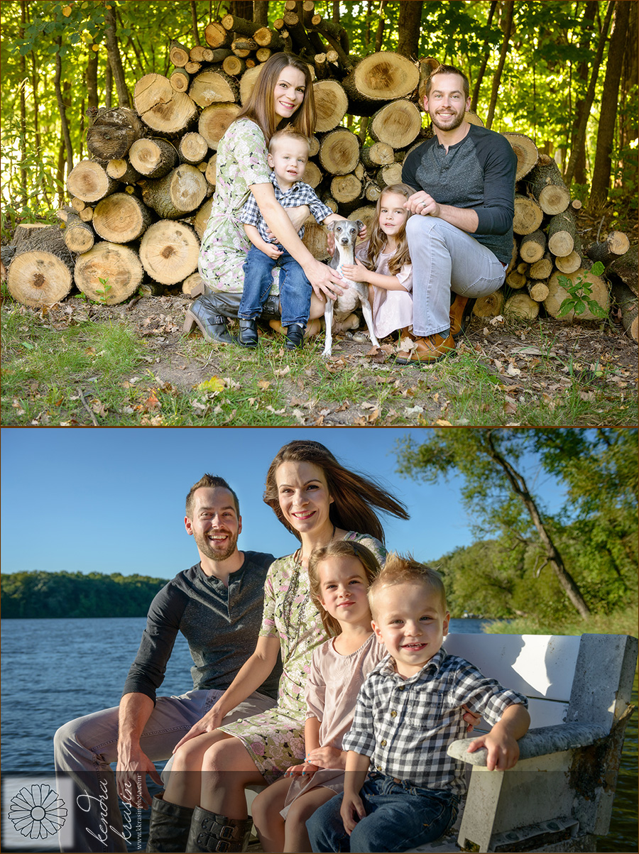 Family wood pile and dock