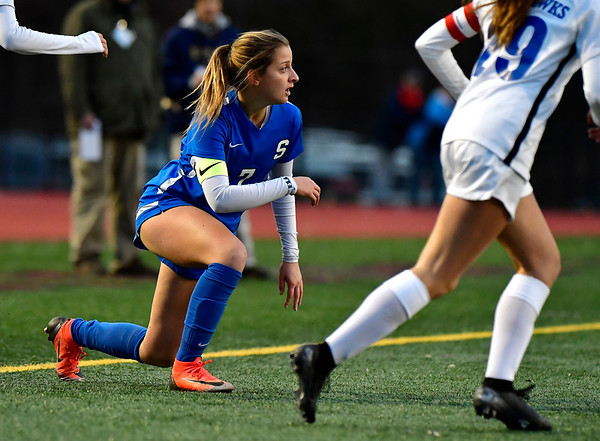 11/23/2019 Mike Orazzi | Staff Southington High School's Emma Panarella (7) during the Class LL Girls State Soccer Tournament at Veterans Stadium in New Britain Saturday evening. Glastonbury won 1-0.