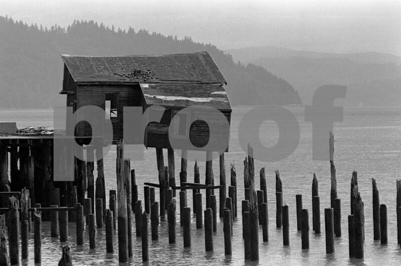 Old fish processing plant in Megler, WA taken on May 22, 1975