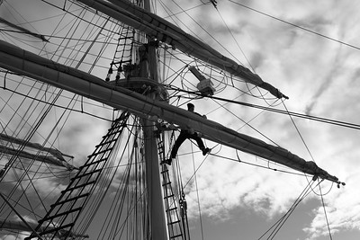 Crew at work on a sailing ship