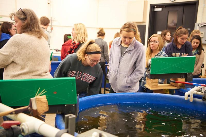 -UWL UW-L UW-La Crosse University of Wisconsin-La Crosse; Candid; day; December; Group; Inside; Lab; Student students; Studying