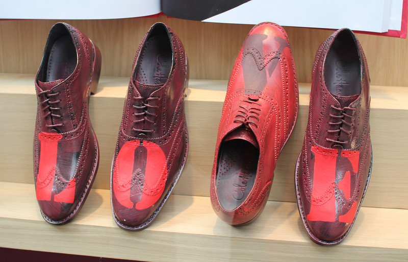 shoes for sale in an upscale men's store at Rockefeller Center