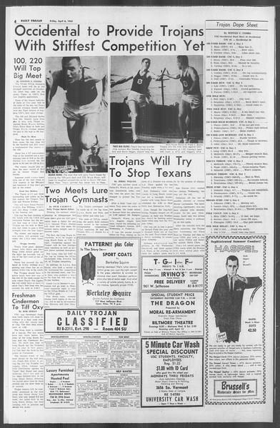Daily Trojan, Vol. 53, No. 105, April 06, 1962