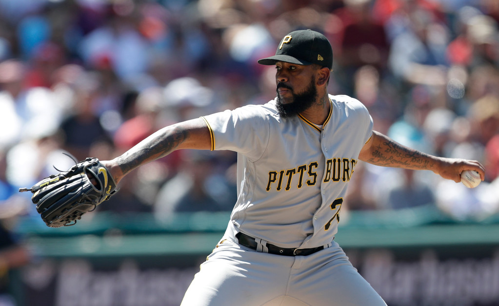 . Pittsburgh Pirates relief pitcher Felipe Vazquez delivers in the eighth inning of a baseball game against the Cleveland Indians, Wednesday, July 25, 2018, in Cleveland. (AP Photo/Tony Dejak)