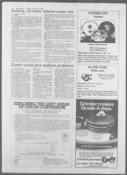 Daily Trojan, Vol. 105, No. 36, October 23, 1987