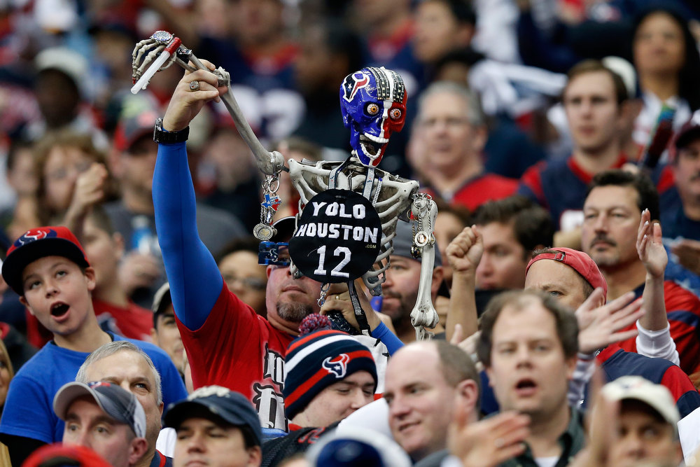 . A fan of the Houston Texans supports his team  against the Cincinnati Bengals during their AFC Wild Card Playoff Game at Reliant Stadium on January 5, 2013 in Houston, Texas.  (Photo by Scott Halleran/Getty Images)