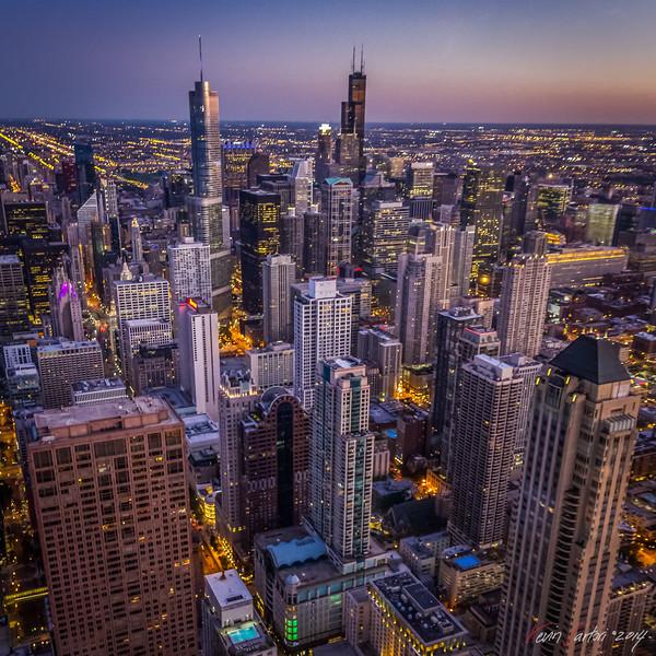 Chicago skyline up in the air John Hancock sunset architecture blending handheld Instagram - Kevin Sartori .jpg
