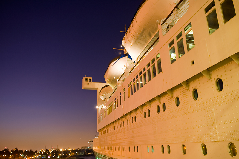 Queen Mary, Long Beach, CA  Orange glow from parking lot lights.