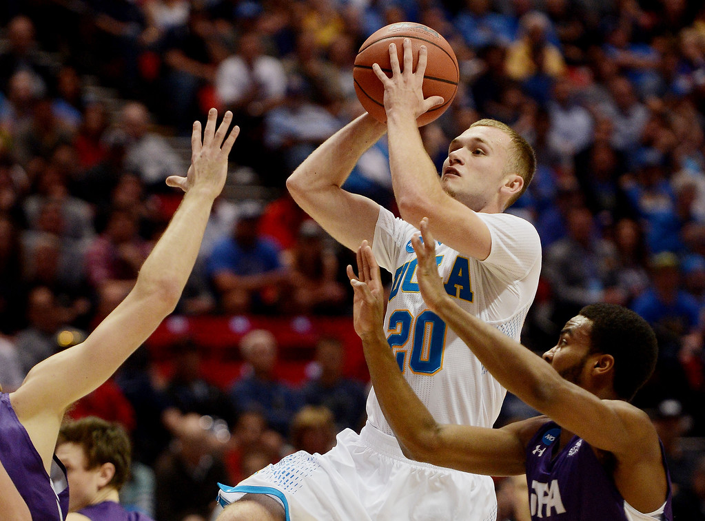 . Bryce Alford #20 of the UCLA Bruins shoots against the Stephen F. Austin Lumberjacks in the first half during the third round of the 2014 NCAA Men\'s Basketball Tournament at Viejas Arena on March 23, 2014 in San Diego, California.  (Photo by Donald Miralle/Getty Images)