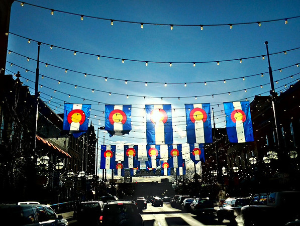 Colorado Flags In Larimer Square