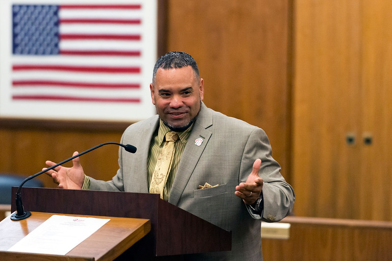 07/22/19  Wesley Bunnell   Staff  Scott Rosado speaks after being nominated to repeat as a city councilman for District 1 at the Democratic meeting at city hall on Monday July 22, 2019.