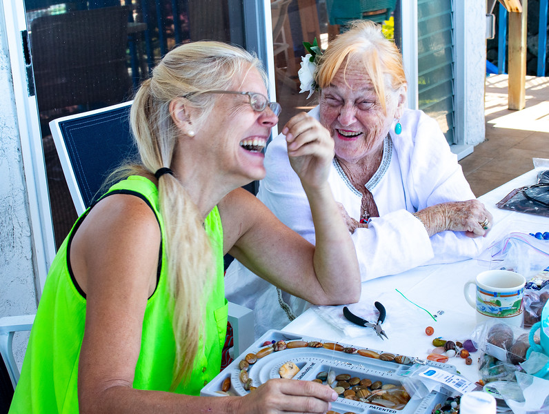 She has a good sense of humor which has Kathy Sinclair in stitches as they work on jewerly.  As I was photographing them they would often break into laughter.