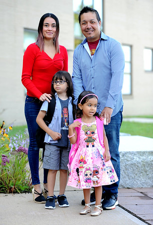 9/3/2019 Mike Orazzi | StaffrYaritza Rivera and Jose Ramos with her children Yadier and Layla at the West Bristol School on the first day of school Tuesday morning in Bristol.
