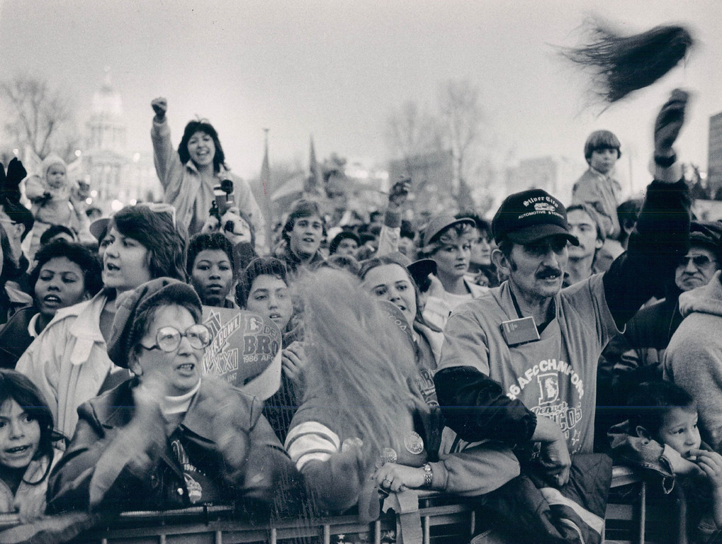 . 1-27-1987 - The fans turned out in full force a the City County building to watch the Super Bowl. (Dennis Chamberlin/The Denver Post)