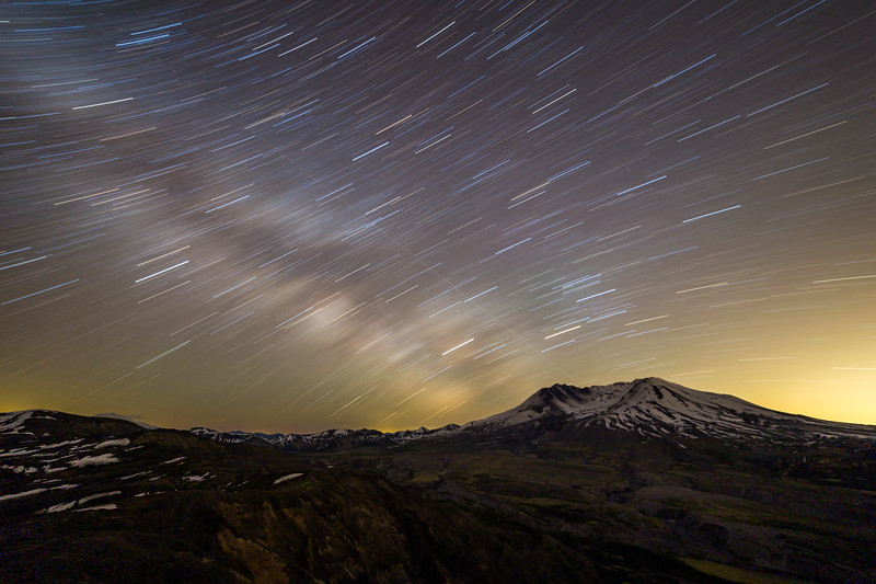 Star trails over Mt. Saint Helens