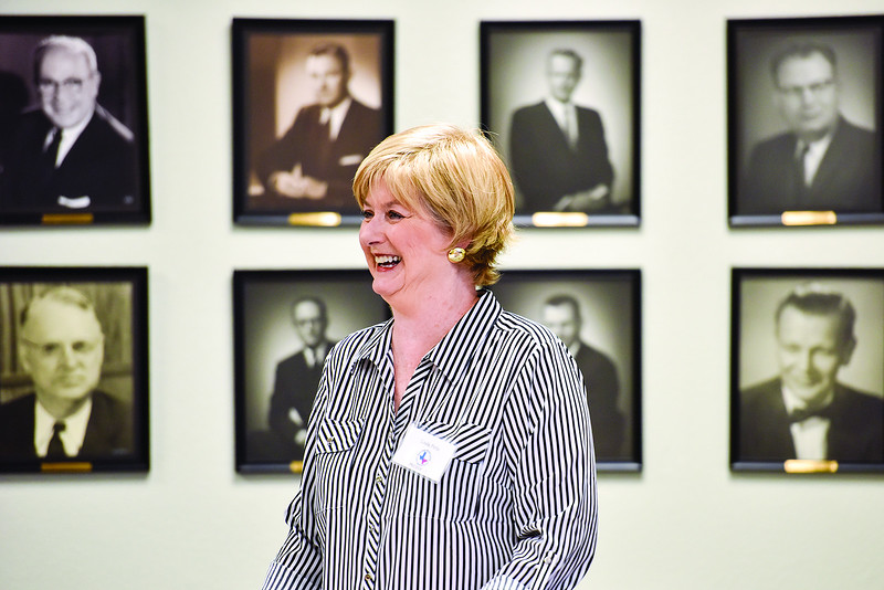 East Texas Writers Guild President Linda Pirtle smiles during a East Texas Writers Guild meeting at the Tyler Area Chamber of Commerce on Monday, May 8, 2017. Multi-published author James R. Callan spoke to the group about writing dialog. (Chelsea Purgahn/Tyler Morning Telegraph)