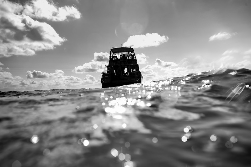 Diving boat in the sea, East Wall, Dive Site, Belize