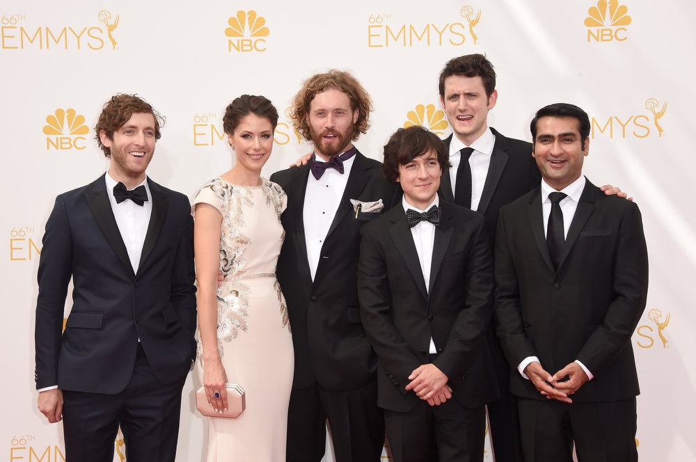 . (L-R) Actors Thomas Middleditch, Amanda Crew, T.J. Miller, Josh Brener, Zach Woods, and Kumail Nanjiani attend the 66th Annual Primetime Emmy Awards held at Nokia Theatre L.A. Live on August 25, 2014 in Los Angeles, California.  (Photo by Jason Merritt/Getty Images)