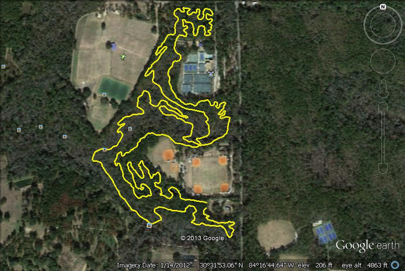The Red Bug loop as it exists after the Jan-Feb 2013 build. From an easy 13Feb13 trail run. Modded through Google Earth and GPS Visualizer. New actual distance (measured 18Feb13) is 8.7km/5.41M.