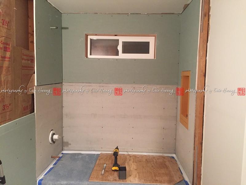 Backer board and greenboard installed