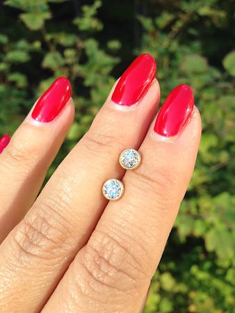 "1.14ctw Old European Cut Diamonds in ""Sarah"" Milgrained Bezel Earrings"