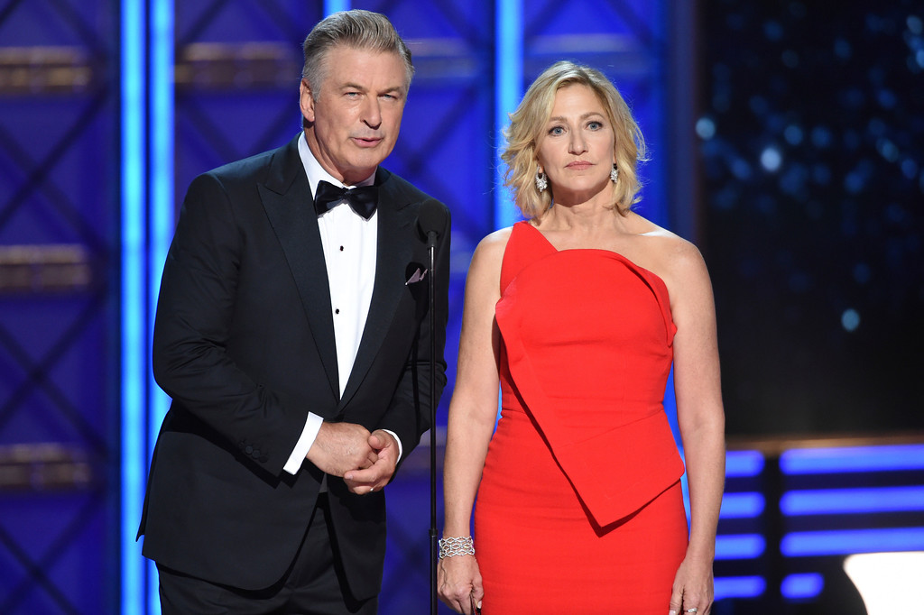 . Alec Baldwin, left, and Edie Falco speak at the 69th Primetime Emmy Awards on Sunday, Sept. 17, 2017, at the Microsoft Theater in Los Angeles. (Photo by Phil McCarten/Invision for the Television Academy/AP Images)