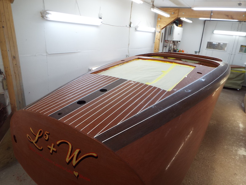 Rear starboard view of the deck seams installed.