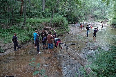 Hiking in a small stream at Woodberry Farms