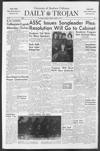Daily Trojan, Vol. 54, No. 62, February 14, 1963