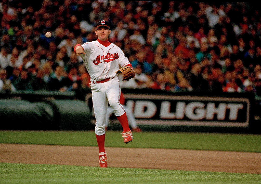 . Jim Thome of the Cleveland Indians throws to first base during a game against the Oakland Athletics at Jacobs Field in Cleveland, Ohio, May 27, 1994. (AP Photo/Mark Duncan)