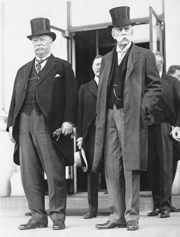 . Former U.S. Supreme Court Justice Oliver Wendell Holmes, right, and Chief Justice William Howard Taft, former U.S. president, attend a White House reception in Washington, D.C., in 1922.  (AP Photo)